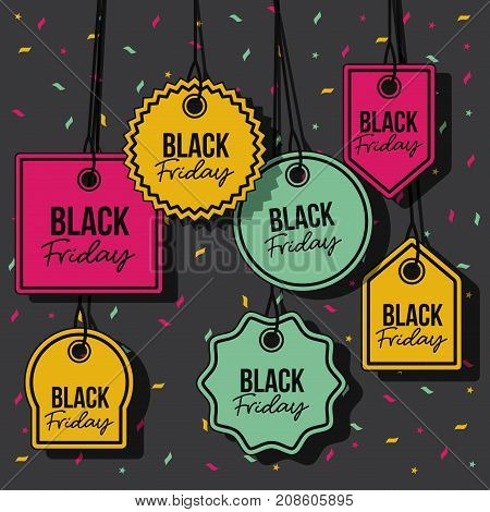 black friday with set of discount offer tags in yellow magenta and green and pendant of threads in black background with confetti colorful vector illustration