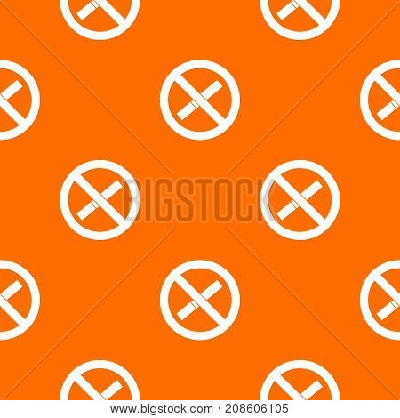 Sign prohibiting smoking pattern repeat seamless in orange color for any design. Vector geometric illustration