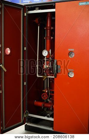 Industrial Fire-fighting System Demonstrated Control Cabinet At The Exhibition In Kiev