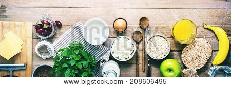 Ingredients Healthy Breakfast Oatmeal Fruit Banner