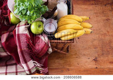 Picnic Wattled Basket Setting Food Summer Time