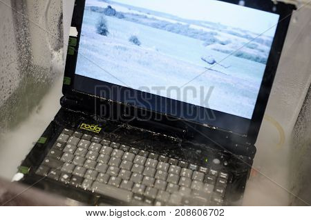 Military Shockproof Laptop With Water Protection At The Exhibition