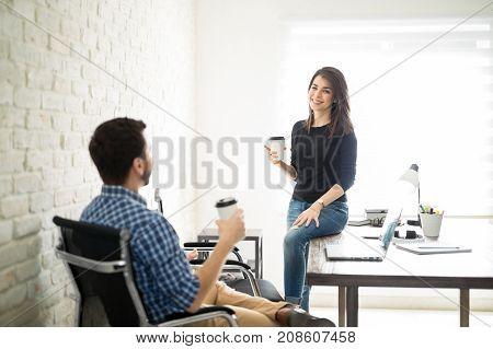 Coworkers Having A Coffee Break