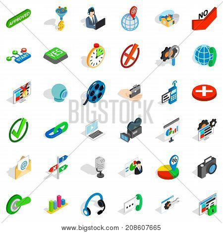 Push button icons set. Isometric style of 36 push button vector icons for web isolated on white background