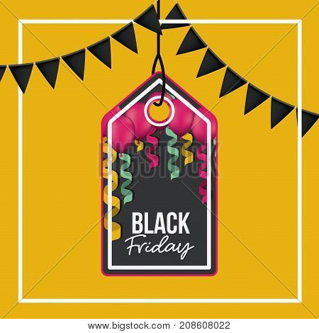 background with white frame and orange background with black festoons with pendant rectangular tag with triangle top side of black friday offer with magenta balloons with ribbons and black backdrop vector illustration