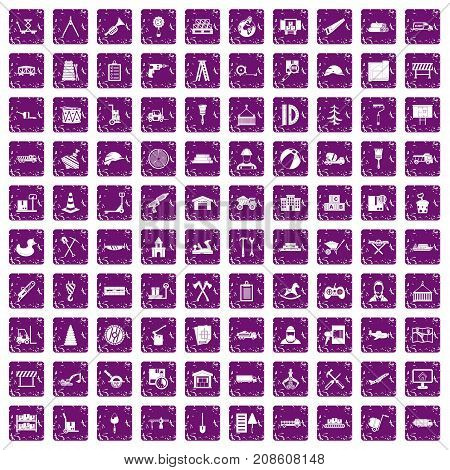 100 lorry icons set in grunge style purple color isolated on white background vector illustration