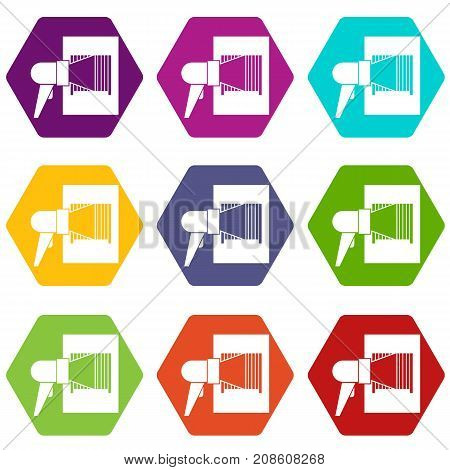 Bar code on cargo icon set many color hexahedron isolated on white vector illustration