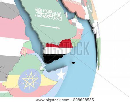 Yemen With Flag On Globe