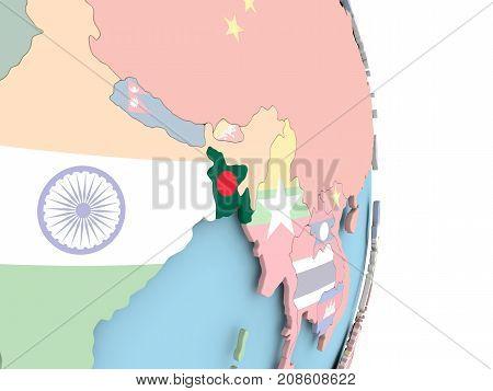 Bangladesh With Flag On Globe