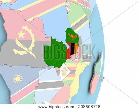 Zambia With Flag On Globe