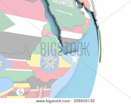 Djibouti With Flag On Globe
