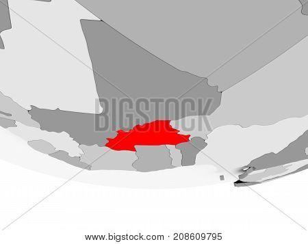 Map Of Burkina Faso On Grey Political Globe