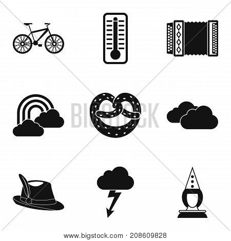 Weather forecast icons set. Simple set of 9 weather forecast vector icons for web isolated on white background