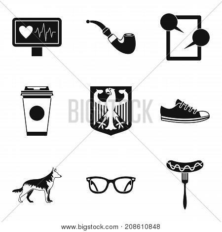 Walking around city icons set. Simple set of 9 walking around city vector icons for web isolated on white background