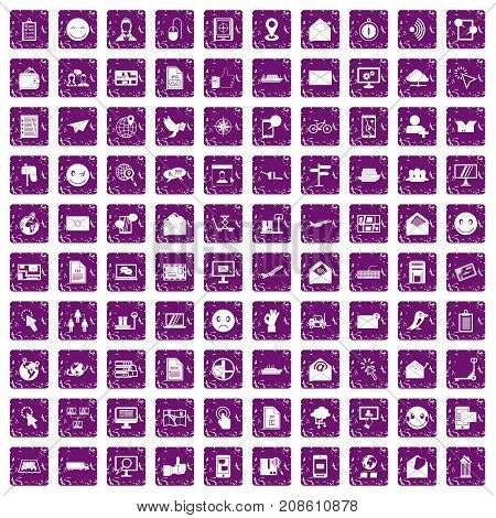 100 mail icons set in grunge style purple color isolated on white background vector illustration
