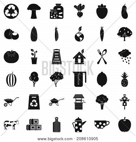 Mushroom icons set. Simple style of 36 mushroom vector icons for web isolated on white background