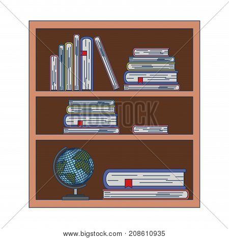 wood library with stack books and world map on white background vector illustration