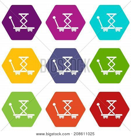 Truck with lifting spring icon set many color hexahedron isolated on white vector illustration