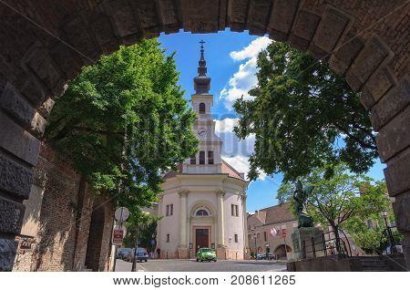Lutheran Church of Budavár photographed through the Gate Vienna (Bécsi kapu) - Budapest, Hungary