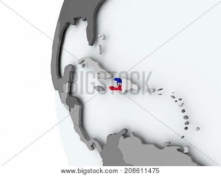 Haiti On Globe With Flag