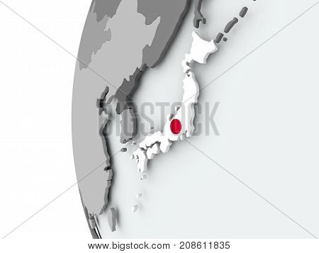 Japan On Globe With Flag