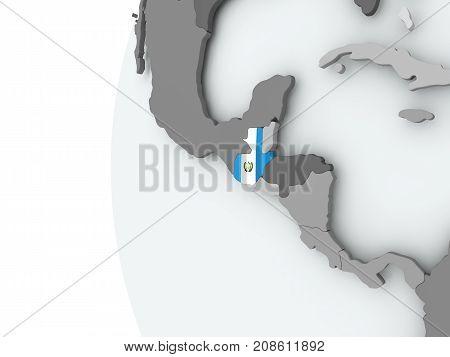 Guatemala On Globe With Flag