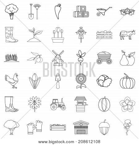 Farming icons set. Outline style of 36 farming vector icons for web isolated on white background