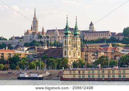 St Anne Church on Batthyany Square and Matthias Church on the Castle Hill - Budapest, Hungary
