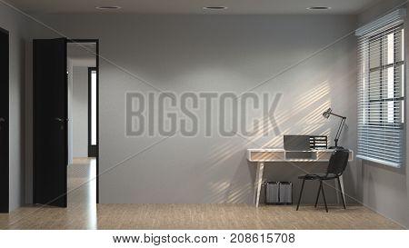 interior working desk 3d illustration and sunlit concept clean modern apartment