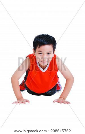 Push-ups Or Press-ups Exercise By Asian Child. Isolated On White Background.