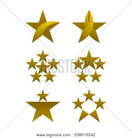 Star icons design gold colored icons set on white background. Vector illustration.