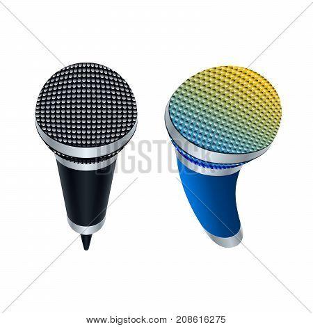 Microphone icon design. Wireless mics. Vector illustration.