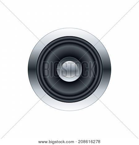 Metallic subwoofer speaker front view. Vector illustration template.
