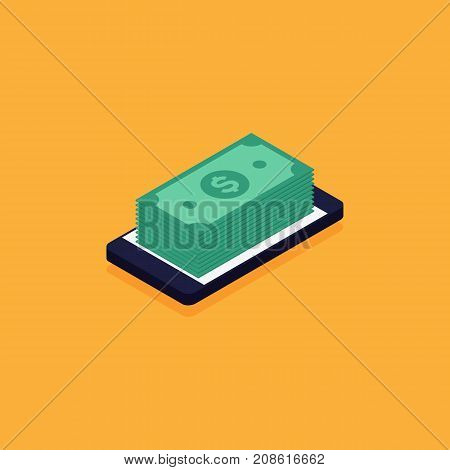 Mobile banking online e-commerce business concept flat design vector illustration
