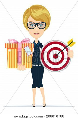 My congratulations. Cheerful well-dressed young woman in glasses holding gift box and target with smile. Stock flat vector illustration.