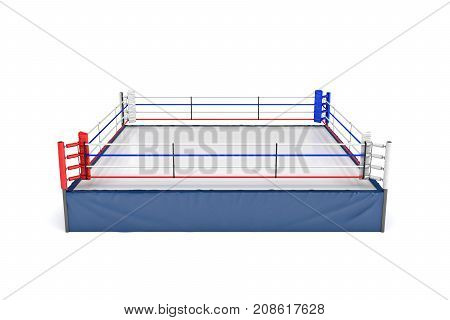 3d rendering of an empty boxing ring in top front view isolated in white background. Boxing match. Fighting show. Sports and recreation.