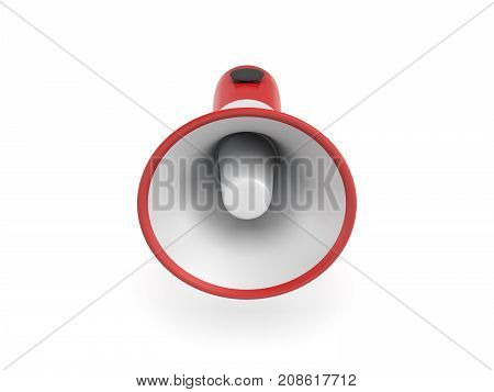 3d rendering of a single red and white megaphone in side view on white background. Loudspeaker. Sound equipment. Rallies and campaigns.