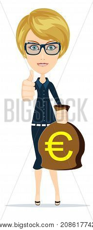 Young adult blonde business woman holding money bag. Stock vector illustration for poster, greeting card, website, ad, business presentation, advertisement design.