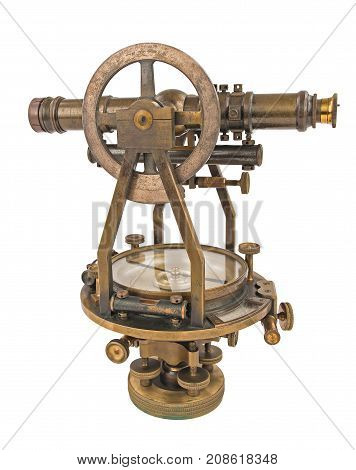 Vintage Surveyor's Level (Transit Theodolite) with Compass isolated on White.