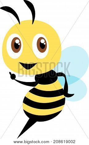Cartoon cute bee character, flat vector mascot