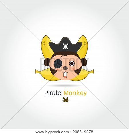 Monkey and bananas logo. Monkey head and crossed bananas.pirate monkey cartoon T-shirt design for kids on white background vector illustration