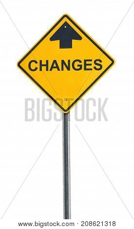 change ahead sign isolated on white background