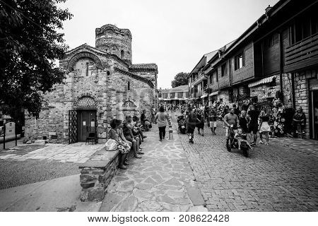 NESEBAR BULGARIA - AUGUST 21 2017: Church of Saint John the Baptist in the old town. Black and white. Nesebar is an ancient city and one of the major seaside resorts on the Bulgarian Black Sea Coast.