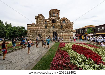 NESEBAR BULGARIA - AUGUST 21 2017: Church of Christ Pantocrator in the old town. Nesebar is an ancient city and one of the major seaside resorts on the Bulgarian Black Sea Coast.