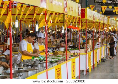 Muang Thong Thani Bangkok China Street Food Decoration With Yellow Flag In Vegetarian Festival In Th