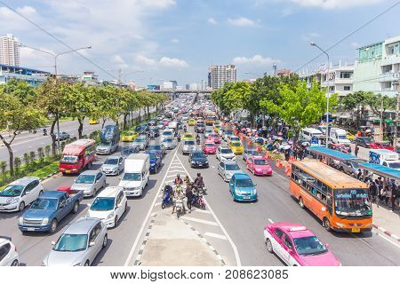 Bangkok Road With A Lot Of Cars And Traffice Jam Wide Angle View Of Transportation In Thailand Metro