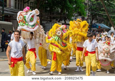 Chinese Dragon Dance At Bangkok China Town In Vegetarian Festival In Thailand 30 August 2016.