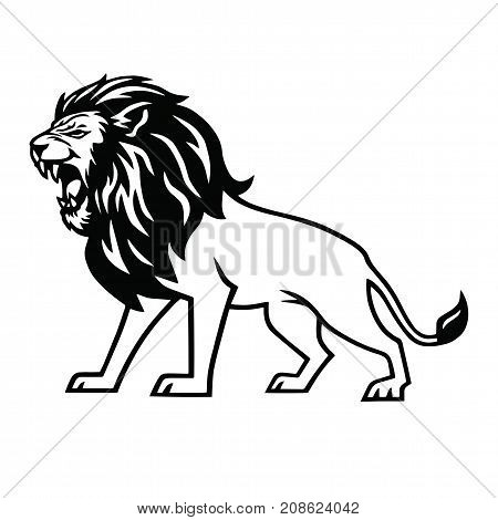Angry Lion Roar Logo Mascot Vector Illustration