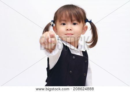 Japanese Girl Playing Rock-paper-scissor In Formal Wear (2 Years Old) (rock)