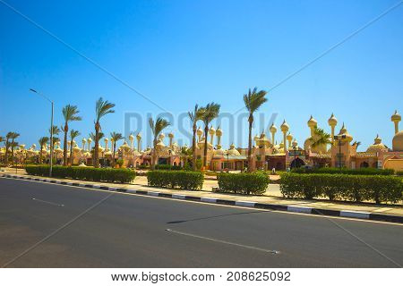 Sharm El Sheikh Egypt - September 23 2017: One of the shopping streets the beautiful architectural features of the Egyptian buildings at Sharm El Sheikh Egypt on September 23 2017